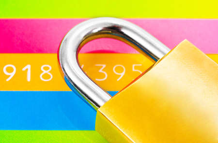 Lock and credit card - business security background photo