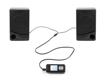 MP3 player and speakers isolated on white background photo
