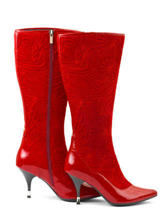 Red woman boots isolated on white background Stock Photo - 7863073