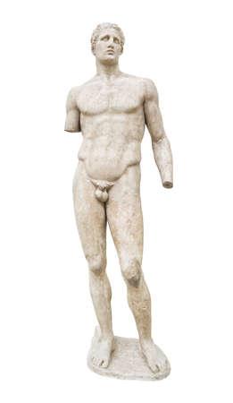 arte greca: Statua nel Museo di Delfi, Grecia - isolato su sfondo bianco