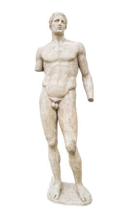 greek statue: Statue in Delphi museum, Greece - isolated on white background Stock Photo