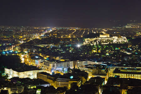Acropolis and Athens in Greece at night - travel background photo