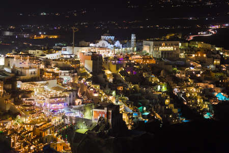 fira: Santorini night (Fira) - Greece vacation background