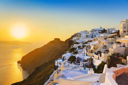 firostefani: Santorini sunset (Firostefani) - Greece vacation background Stock Photo