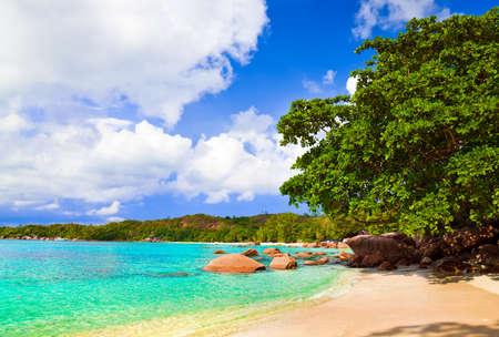 Beach Anse Lazio at island Praslin, Seychelles - vacation background Stock Photo