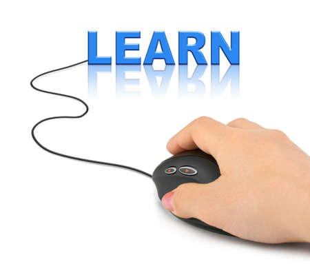 Hand with computer mouse and word Learn - education concept photo