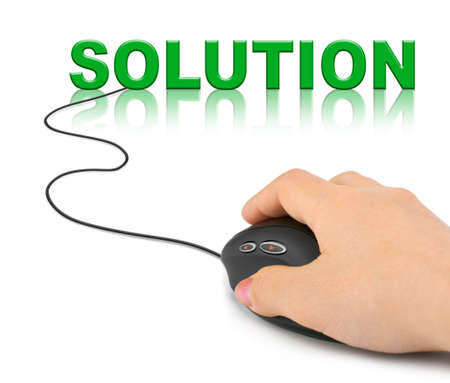 Hand with computer mouse and word Solution - technology concept Stock Photo - 7936884