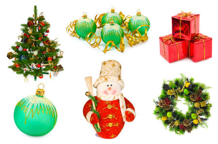 Christmas set isolated on white background photo