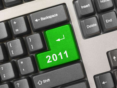 Computer keyboard with 2011 key - holiday concept photo