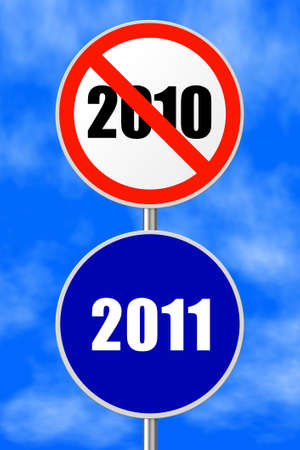 Round sign 2011 - New Year concept, sky on background photo