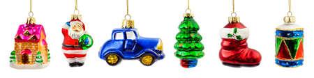 Set of christmas toys isolated on white background photo