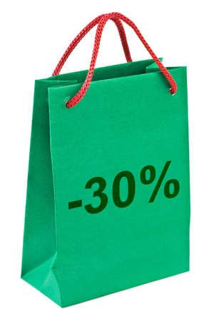 Shopping bag 30 percent isolated on white background photo