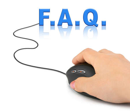 computer problem: Hand with computer mouse and word FAQ - internet concept Stock Photo