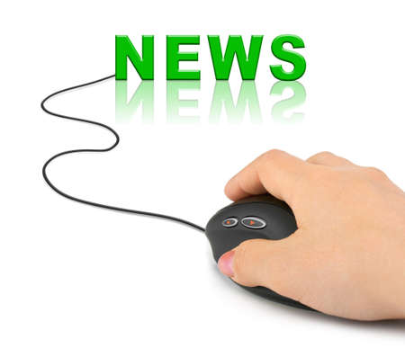 Hand with computer mouse and word News - internet concept Stock Photo - 8021776