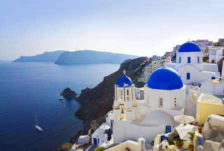 santorini greece: Santorini church (Oia), Greece - vacation background