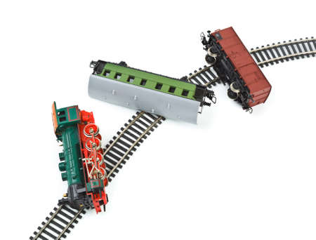 wrecks: Crash toy train isolated on white background