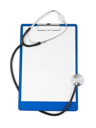 medical report: Medical clipboard and stethoscope isolated on white background