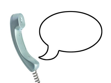 Telephone receiver and speech bubble isolated on white background Stock Photo - 8053239