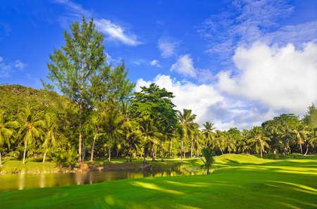 Golf field at island Praslin, Seychelles - sport background photo