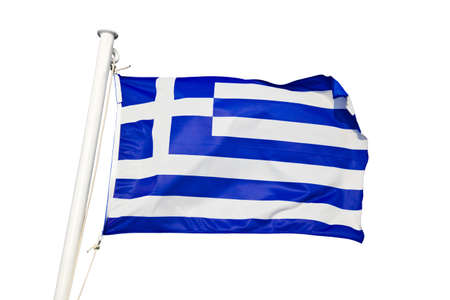 greece: Greece flag - isolated on white background Stock Photo