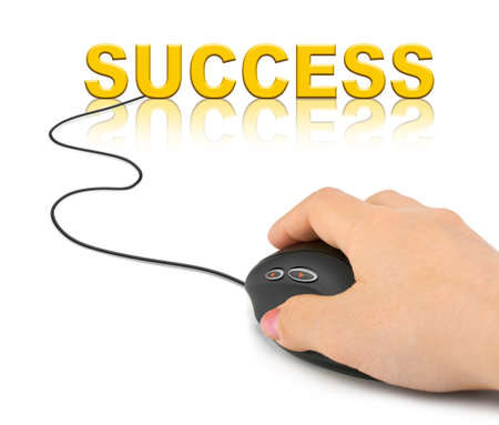 Hand with computer mouse and word Success - business concept photo
