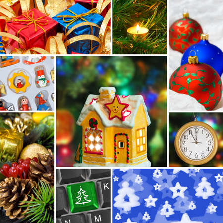 Collage of christmas images (my photos) - holiday background  Stock Photo - 8132725