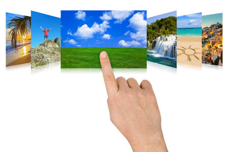 nature photography: Hand scrolling nature and travel photography (my photos) - isolated on white background