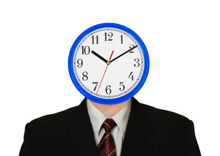 Clock for head isolated on white background photo