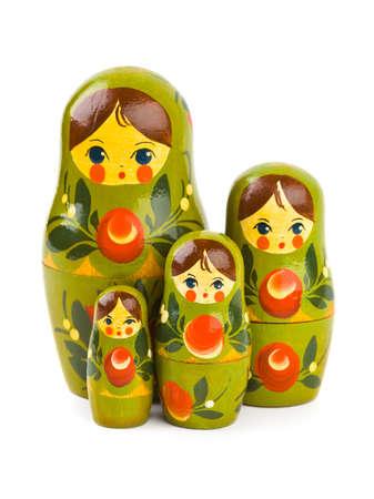 matrioska: Russian retro toy matrioska isolated on white background