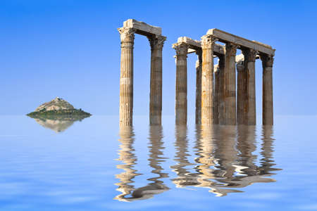 Ancient ruins and island in water - abstract architecture background photo