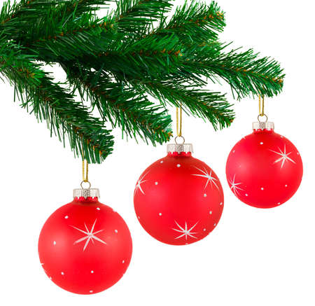 Christmas tree and balls isolated on white background photo