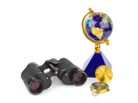Binoculars, compass and globe - travel concept Stock Photo - 8164073
