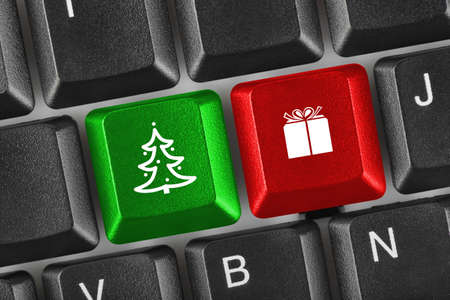 Computer keyboard with Christmas keys - holiday concept Stock Photo - 8164078