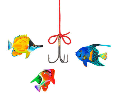 Fishing hook and string isolated on white background photo