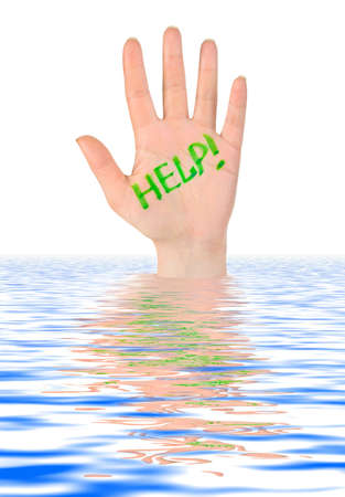 drowning: Hand help in water isolated on white background