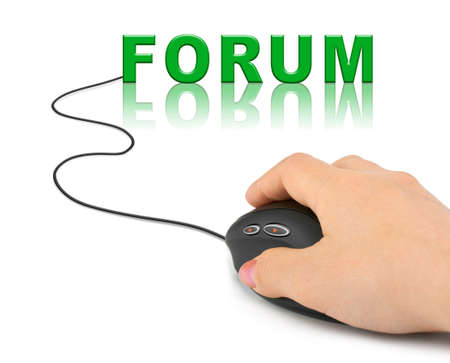 Hand with computer mouse and word Forum - internet concept photo