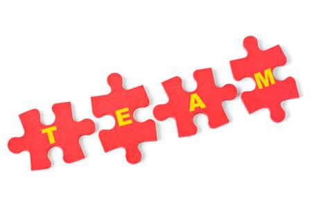 Puzzle Team isolated on white background Stock Photo - 8249772