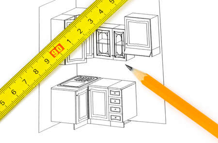 Kitchen plan isolated on a white background photo