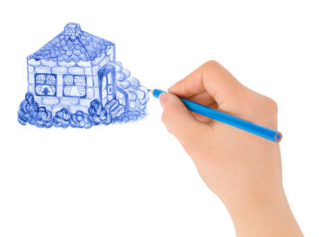 Hand drawing house isolated on white background photo