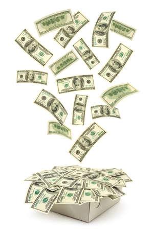 dinero volando: Cuadro y dinero ca�da aislados sobre fondo blanco