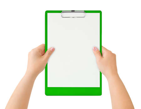 hospital notes: Clipboard in hands isolated on white background