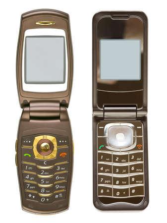old technology: Serie di telefoni cellulari isolati su sfondo bianco