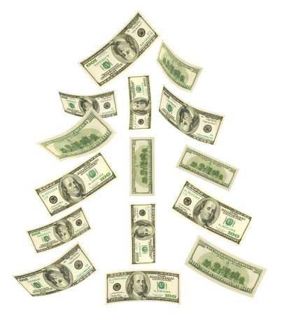 money falling: Christmas tree made of falling money isolated on white background