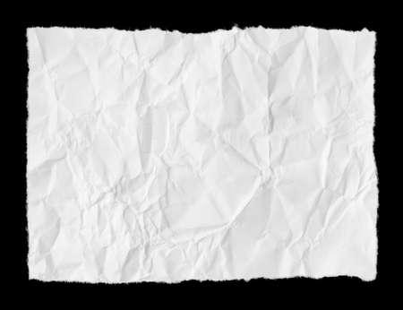 creasy: Broken paper page isolated on black background
