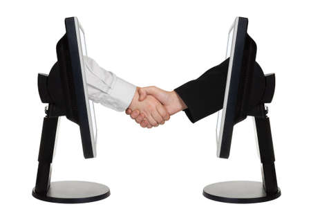 technology agreement: Virtual handshake - internet business concept isolated on white background