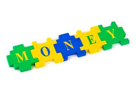 Puzzle Money isolated on white background Stock Photo - 8325332