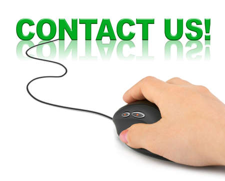 Hand with computer mouse and word contact us - business concept photo