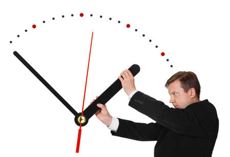 delay: Business man stop time isolated on white background Stock Photo