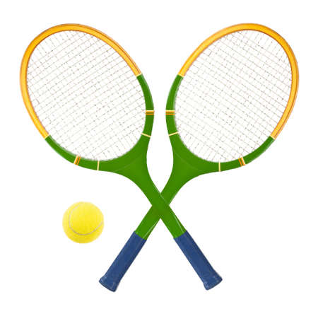 Tennis racket and ball isolated on white background Stock Photo - 8367328