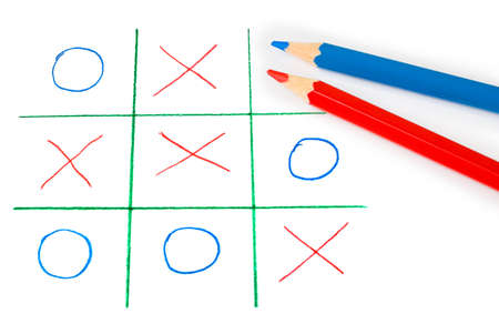 standoff: Noughts and crosses game isolated on white background